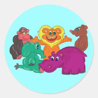 Etiqueta colorida animal da selva dos miúdos adesivos em formato redondos