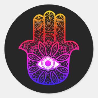 Etiqueta colorida de Hamsa