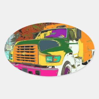 Etiqueta colorida do caminhão adesivos ovais