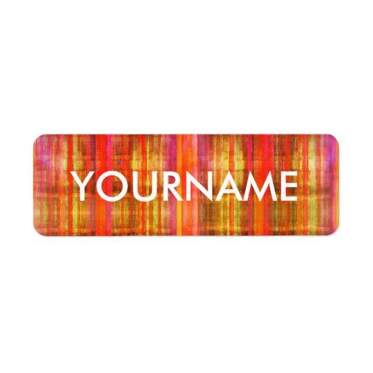 Etiqueta colorida do nome do teste padrão da arte etiqueta endereço de retorno