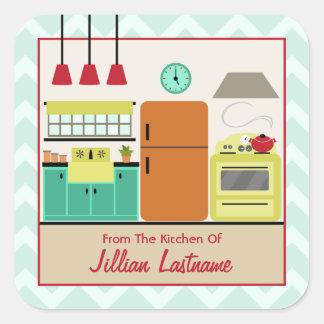 Etiqueta colorida retro da etiqueta da cozinha adesivo quadrado