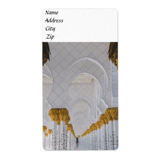 Etiqueta Colunas do Sheikh Zayed Grande Mesquita, Abu Dhabi