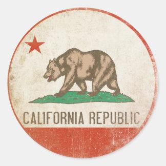 Etiqueta com a bandeira afligida da república de adesivo