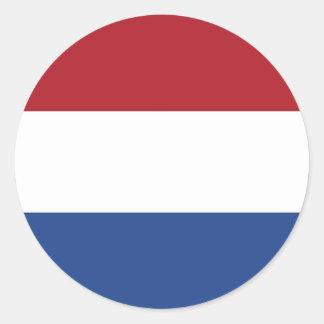 Etiqueta com a bandeira de Países Baixos Adesivo Redondo