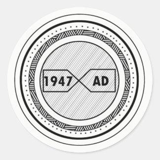 Etiqueta com um logotipo 1947 do ANÚNCIO
