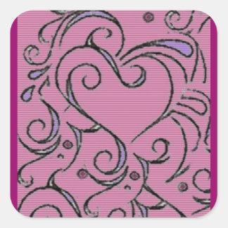 Etiqueta complicada do coração adesivo quadrado