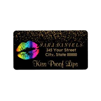Etiqueta Confetes do ouro & lábios do arco-íris no preto