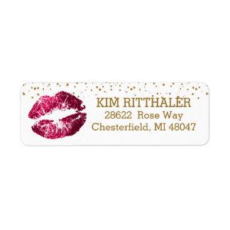 Etiqueta Confetes dourados & endereço cor-de-rosa dos