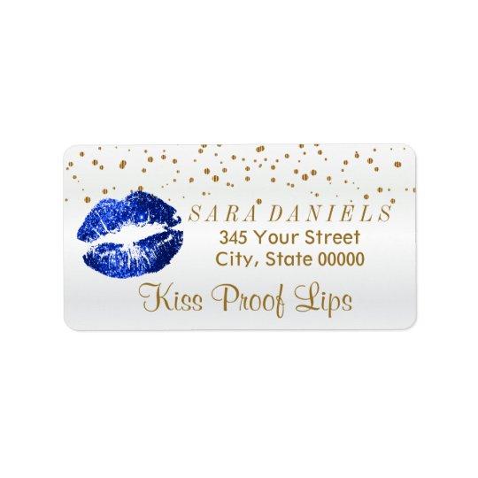 Etiqueta Confetes dourados & lábios azuis do brilho