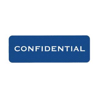 Etiqueta CONFIDENCIAL II do teste padrão azul Etiqueta Endereço De Retorno
