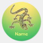 Etiqueta conhecida 1 do geco/salamandra/lagarto adesivos em formato redondos