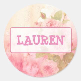 Etiqueta conhecida personalizada rosas do vintage
