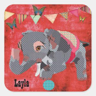 Etiqueta conhecida vermelha do elefante afortunado adesivo em forma quadrada