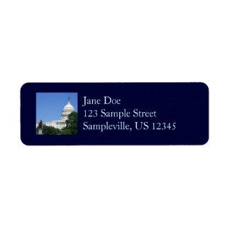 Etiqueta Construção do Capitólio no Washington DC
