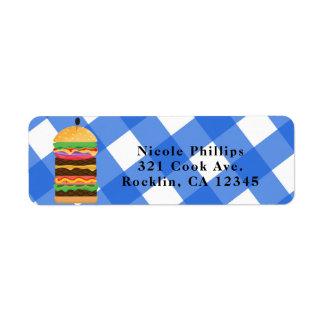Etiqueta Convite azul do assado do Cookout do verão do