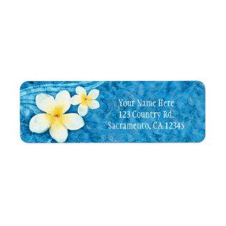 Etiqueta Convite azul do verão da flor tropical do Plumeria