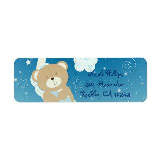 Etiqueta Convite da lua do urso de ursinho & do chá de