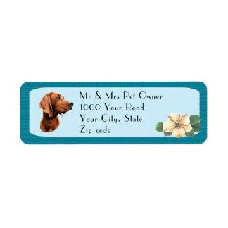Etiqueta Coonhound de Redbone na turquesa floral