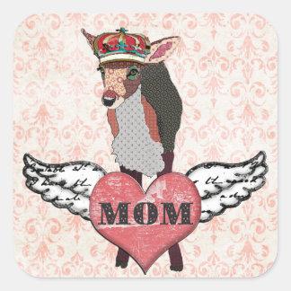 Etiqueta cor-de-rosa bonito da mamã do coração da adesivo em forma quadrada