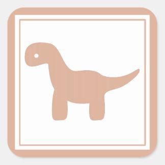 Etiqueta cor-de-rosa bonito do dinossauro adesivo quadrado