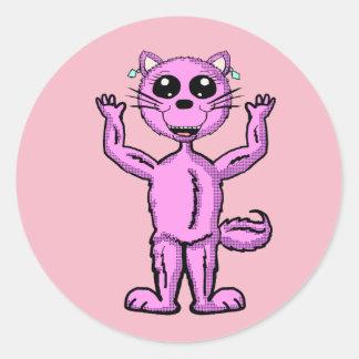 Etiqueta cor-de-rosa bonito do gatinho