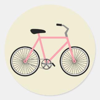 Etiqueta cor-de-rosa da bicicleta adesivos redondos