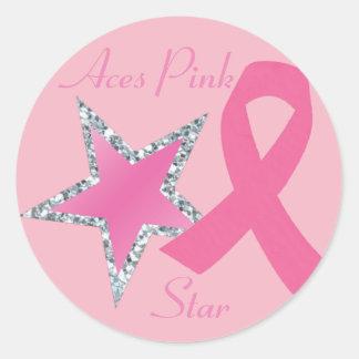 Etiqueta cor-de-rosa da estrela da fita dos áss