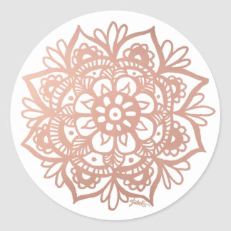 Etiqueta cor-de-rosa da mandala do ouro