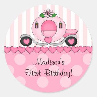 Etiqueta cor-de-rosa da princesa feliz aniversario adesivos