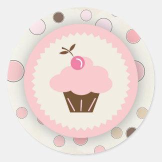 Etiqueta cor-de-rosa das bolinhas do cupcake adesivo