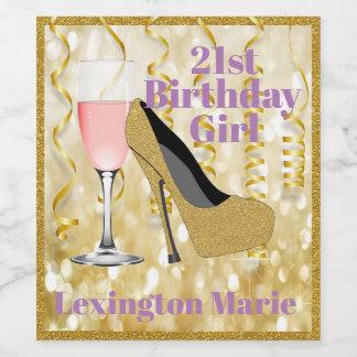 Etiqueta cor-de-rosa | de Champagne do aniversário