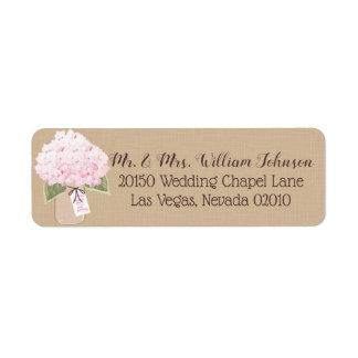 Etiqueta cor-de-rosa do buquê do Hydrangea
