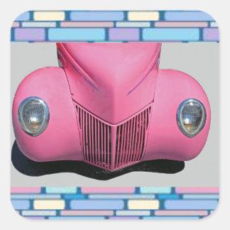 Etiqueta cor-de-rosa do carro