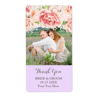 Etiqueta cor-de-rosa do casamento da foto do Lilac