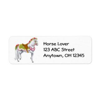 Etiqueta cor-de-rosa do cavalo da parada