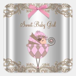 Etiqueta cor-de-rosa do chá de fraldas da adesivos quadrados
