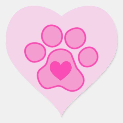 Etiqueta cor-de-rosa do coração das patas do adesivo em forma de coração