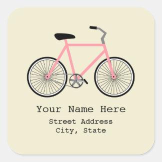 Etiqueta cor-de-rosa do endereço da bicicleta adesivo quadrado