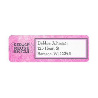 Etiqueta cor-de-rosa do endereço do remetente do