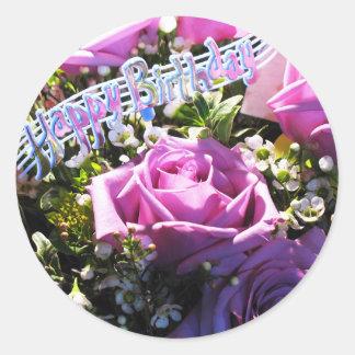 Etiqueta cor-de-rosa do feliz aniversario   adesivo