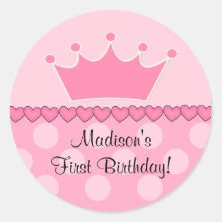 Etiqueta cor-de-rosa do feliz aniversario da adesivo em formato redondo
