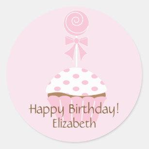 Etiqueta cor-de-rosa do feliz aniversario do