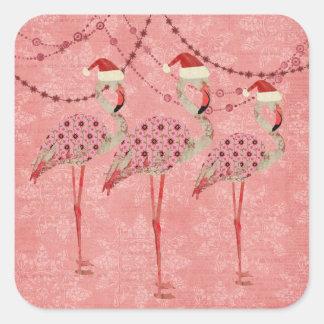 Etiqueta cor-de-rosa do feriado dos flamingos adesivo quadrado