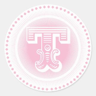 Etiqueta cor-de-rosa do monograma da letra T
