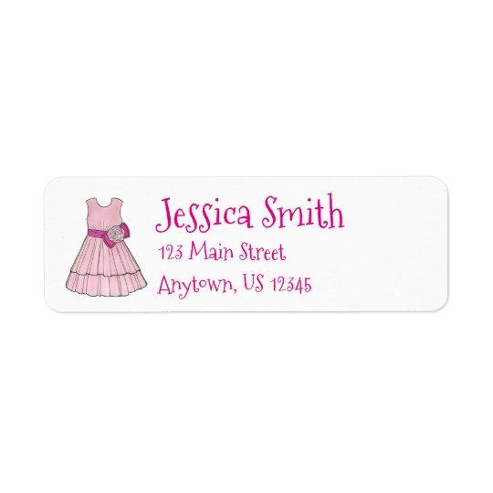 Etiqueta cor-de-rosa do vestido de partido da etiqueta endereço de retorno