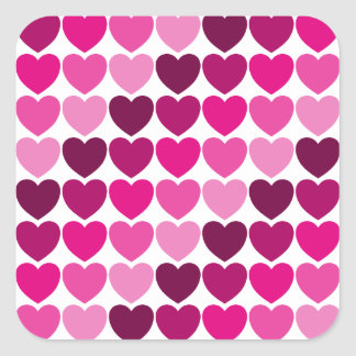 Etiqueta cor-de-rosa dos corações adesivo quadrado
