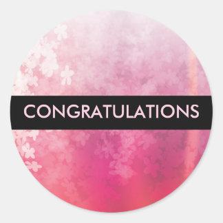 Etiqueta cor-de-rosa dos parabéns da flor