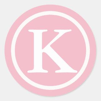 Etiqueta cor-de-rosa e branca inicial Monogrammed