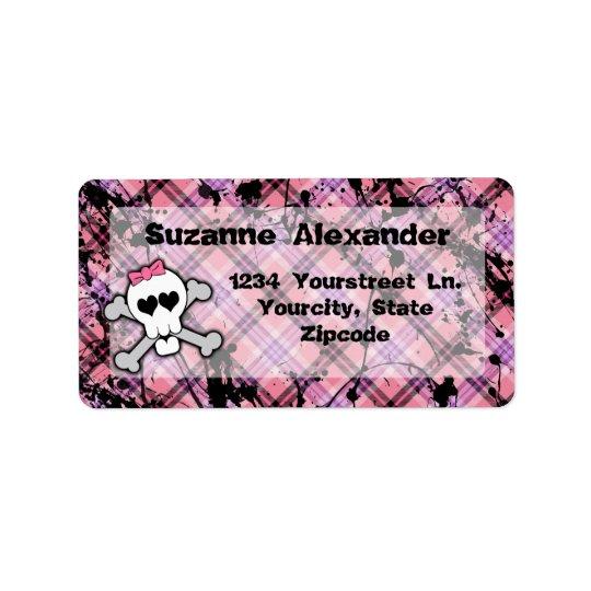 Etiqueta cor-de-rosa e preta feita sob encomenda d etiqueta de endereço