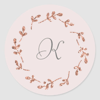 Etiqueta cor-de-rosa elegante da inicial do brilho